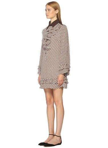 Fırfır Detaylı Desenli Mini Elbise-Sister Jane